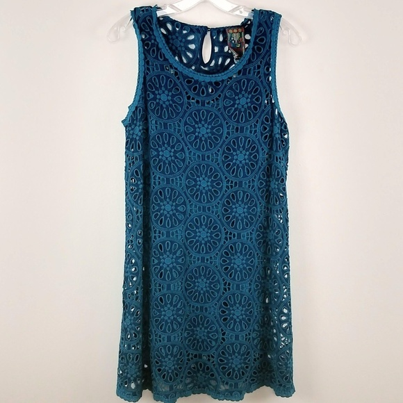 Johnny Was Dresses & Skirts - Johnny Was Eyelet Shift Dress Crochet Lace Small